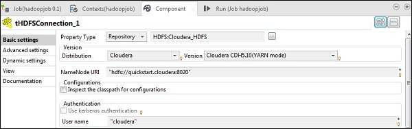 select the Hadoop cloudera cluster