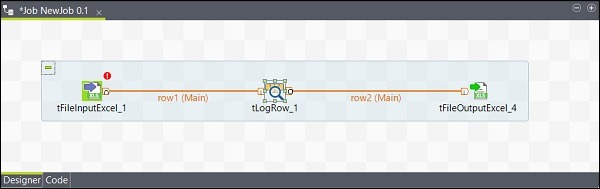 Similarly, right click tLogRow and draw a Main line on tFileOutputExcel. Now, your components are connected.
