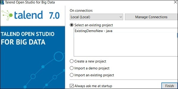 Select a project from existing project and click Finish. This will open that Talend project.