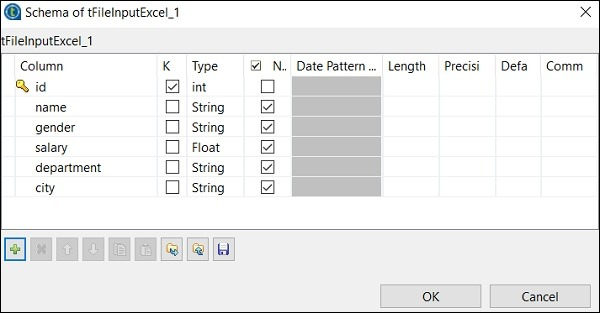 Click Edit schema and add the columns and its type according to your input excel file. Click Ok after adding the schema.