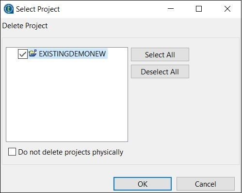 Select the project you want to delete and click Ok.