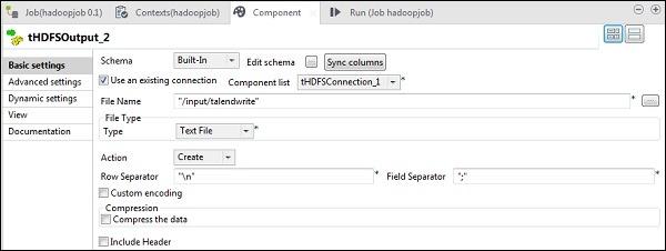 tHDFSOutput component