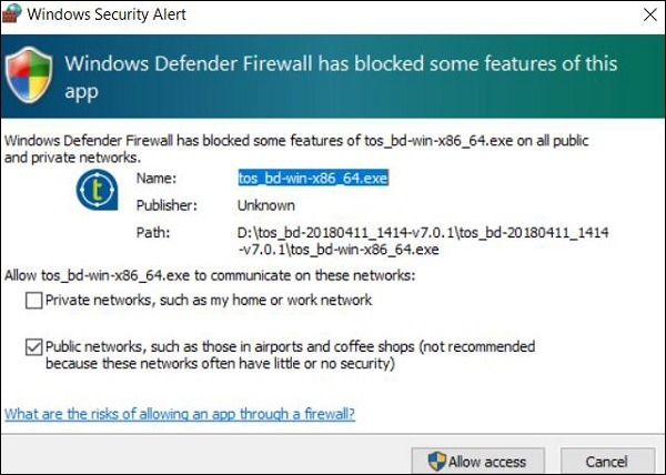 Click Allow Access in case you get Windows Security Alert.