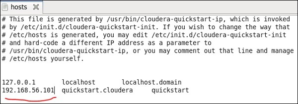 cloudera quickstart VM, edit your /etc/hosts file