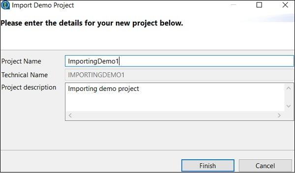 Now, give the Project name and description. Click Finish.