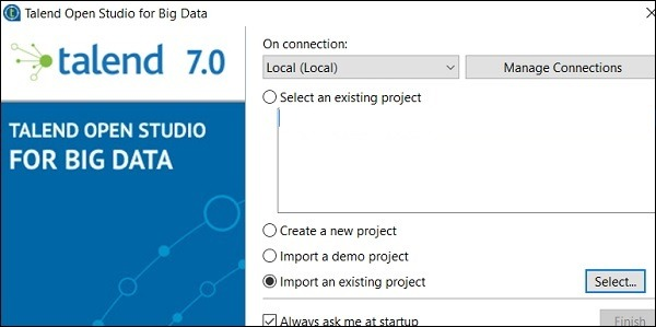 Select Import an existing project option and click on Select.
