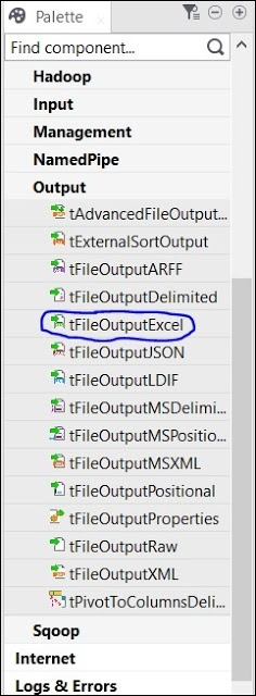 Finally, select tFileOutputExcel component from the palette and drag drop it in designer window.