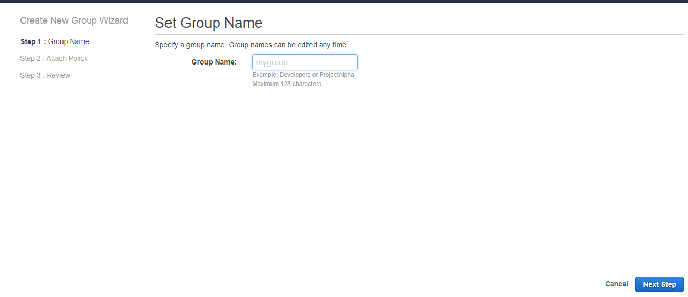 Creating a Group (AWS Management Console)