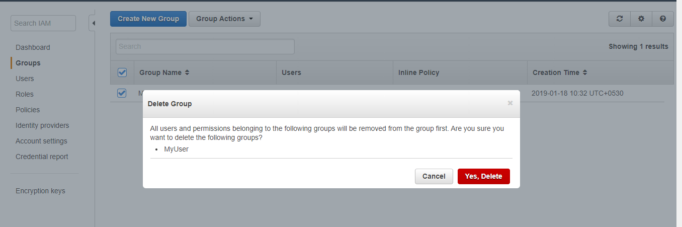 Deleting an IAM Group (AWS Management Console)