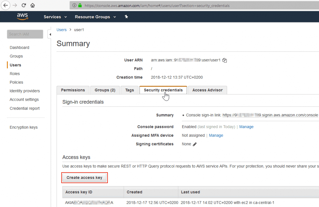 Generating access keys for Amazon S3 cloud storage
